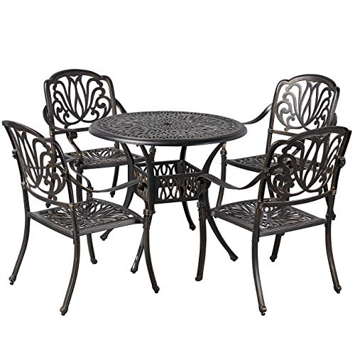 YAHEETECH 5-Piece Outdoor Dining Set, All-Weather Cast Aluminum Patio Dining Set w/Umbrella Hole for Balcony, Lawn, Garden, Backyard