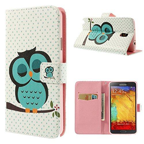 NALIA Cover a Libro compatibile con Samsung Galaxy Note 3 Neo, Custodia Portafoglio Sottile Wallet Case Protettiva Ecopelle Vegan Protezione Cellulare Bumper Telefono - Owl Green Edition