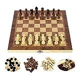 Z.L.FFLZ Tablero de ajedrez Chess International 3-en-1 Set de Madera Juguete Educativo Brain Training Board Juego de Plegado para niños Regalo de Extremo Alto (Color : Marrón, Size : 44x44cm)