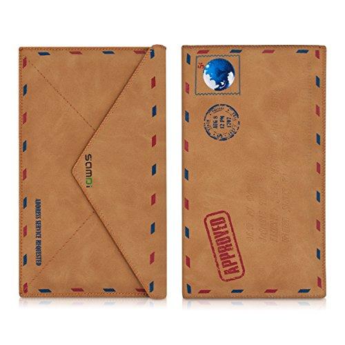 kwmobile Kunstleder Tasche für Smartphones - Handy Cover Hülle Hülle Slim Schutztasche Mail Hellbraun - 16,5 x 10 cm Innenmaße