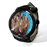 Anime, Attack on Titan, Reloj LED Digital Reloj de Cuarzo analógico Resistente al Agua Reloj de Correa de Gel de sílice de Acero Inoxidable Reloj de Moda Regalo de niño niña-A