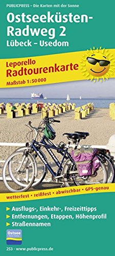 Ostseeküsten-Radweg 2, Lübeck-Usedom: Leporello Radtourenkarte mit Ausflugszielen, Einkehr- & Freizeittipps, wetterfest, reissfest, abwischbar, GPS-genau. 1:50000 (Leporello Radtourenkarte / LEP-RK)