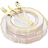 Liacere 150PCS Clear Gold Plastic Plates & Disposable Gold Plastic Silverware with Glitter Bamboo Handle Cutlery - Baroque Clear Gold Disposable Plates for Weddings & Parties