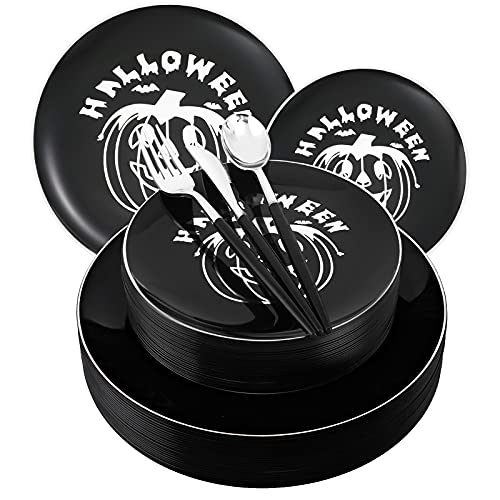 I00000 16 Guests Black Halloween Plastic Plates & Disposable Silver Plastic Silverware With Black Handle, Black&Silver Halloween Pumpkin Party Tableware for Halloween Party Supplies and Decorations