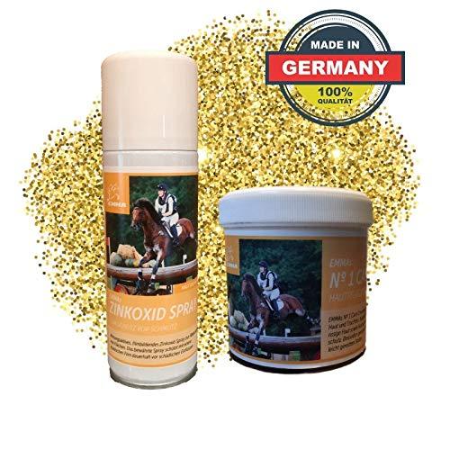 EMMA® Zink Spray + Zinksalbe für Pferd & Hunde I Sparset I Wundspray Wundverband I Silberspray optimale Wundversorgung I Pflasterspray atmungsaktiv für Tiere 200ml + 250ml