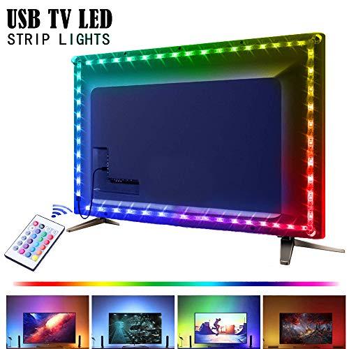RGB TV Hintergrundbeleuchtung, IP65 2M USB LED Band Leds Leiste, SMD 5050 Led Stripe Lichtleiste TV Beleuchtung Neon Fernseher Ambient Lichter mit Fernbedienung, Multifarben LED Streifen Lichterkette