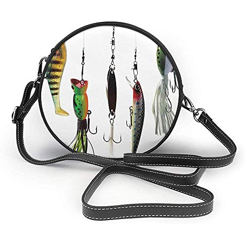 TURFED PU Bolsa de hombro redonda Pesca Varios tipos de cebos de...