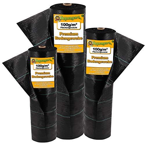 Aquagart®16,5m² Unkraut-Folie 1,65m breit Mulch-Vlies Bodengewebe I Garten Unkrautvlies 100g + 10 Erdanker Gratis