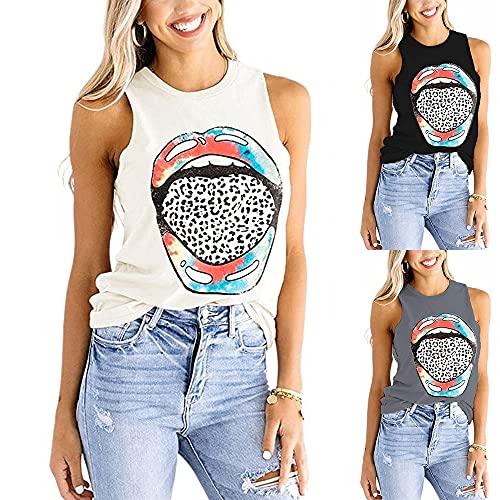 Camiseta Sin Mangas Mujer Cómoda Cuello Redondo Labios Estampado Leopardo Mujer Camisa Ropa Diaria Casual Estilo De Calle Verano Exquisito Mujer Camisetas Sin Mangas A-White XL