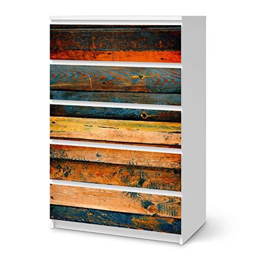 creatisto Möbelfolie selbstklebend passend für IKEA Malm Kommode 6 Schubladen (hoch) I Möbeldeko - Möbel-Aufkleber Folie Tattoo I Wohndeko für Esszimmer und Wohnzimmer - Design: Wooden