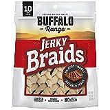 Buffalo Range Rawhide Dog Treats | Healthy, Grass-Fed Buffalo Jerky Raw Hide Chews | Hickory Smoked Flavor | Jerky Braid, 10 Count