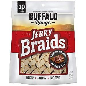 Buffalo Range Rawhide Dog Treats | Healthy, Grass-Fed Buffalo Jerky Raw Hide Chews | Hickory Smoked Flavor | Jerky Braids, 10 Count