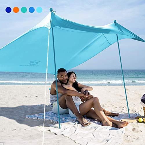 Bessport Schatten Zelt Sun Shelter 2.1m×2.1m | UPF 50+ UV Schutz & wasserdicht | mit 4 Sandsäcken und 2 Alustangen Lycra Sonnendach Strandmuschel für Strand, Camping