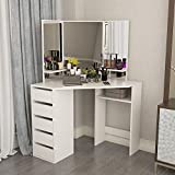 Hironpal White Corner Curved Dressing Table <span class='highlight'>Makeup</span> Vanity <span class='highlight'>Desk</span> with 5 Drawer 3 Angle Mirror <span class='highlight'>Makeup</span> Vanity Table Bedroom Furniture with 25mm Thick White Gloss Table Top