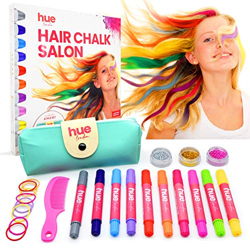 HueLondon Hair Chalk for Girls Set - Temporary Hair Color for Kids & Style Set - Hair Chalk for Girls with Dark Hair - Safe for Kids Hair Chalk - Gift for Girls - Washable Hair Color for Kids