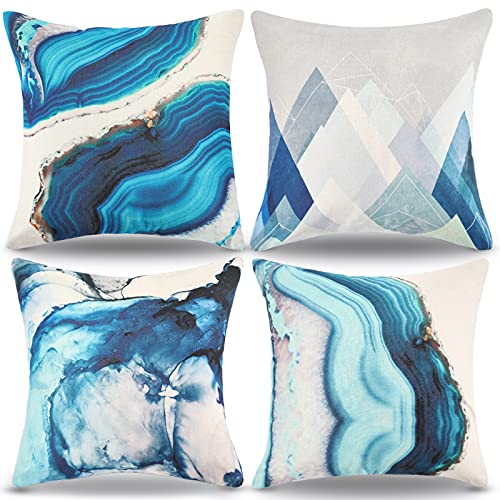 RYBornament Funda Cojin 45x45 Cojín Azul Geometría Cojines Decorativos para Sofa Lino Cuadrado Cojines Moderno Decorativos Fundas Almohadones Sofa Jardin Cojines para Cama Hogar Exterior