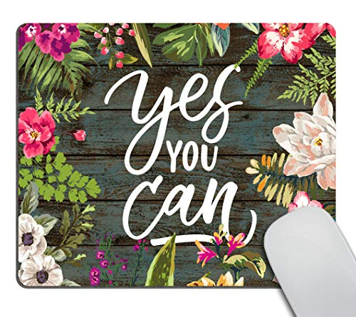 Smooffly Gaming Mouse Pad Custom,Yes You can Motivational Quote Mouse Pad Inspirational Quotes Mousepad