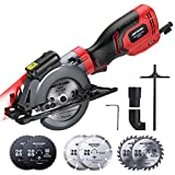 Circular Saw, Meterk 6.2A Compact Electric Circular Saw with Laser Guide, 6 Blades, Max...