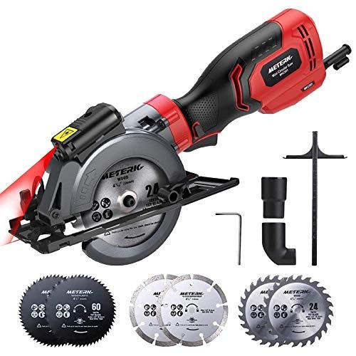 Circular Saw, Meterk 6.2A Compact Electric Circular Saw with Laser Guide, 6 Blades, Max Cutting Depth 1-9/10