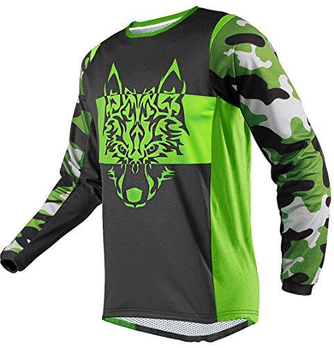 Wisdom Leaves Men's Cycling Jersey Long Sleeve Mountain Bike Jerseys BMX Moisture-Wicking T-Shirt Black-Green
