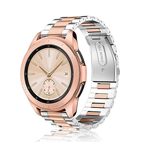 Fintie Armband kompatibel mit Samsung Galaxy Watch 3 41mm/Galaxy Watch 42mm/Galaxy Watch Active/Active2/Gear Sport/Gear S2 Classic-Edelstahl Metall Ersatzband mit Doppelt Faltschließe, Silber/Roségold