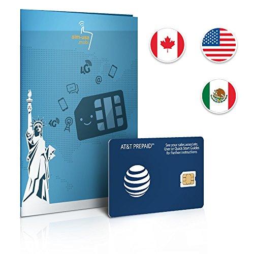Tarjeta SIM de Prepago EE. UU., Canadá y México en AT&T Red – 22 GB 4 G LTE – llamadas ilimitadas y textos – 30 días