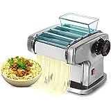 LOVEHOUGE Macchina per Pasta Elettrica Automatica,Tagliapasta in Acciaio Inossidabile,Macchina per Pasta Multifunzione,Impostazioni di Spessore Regolabili,Two Knives