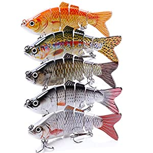 VTAVTA Fishing Lures for Bass Swimbaits Bass Lures Slow Sinking Lifelike Fish Glide Bait 3.9inch Tackle Kits Pack of 5