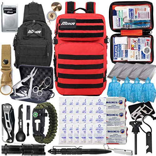 MIKA (2021 Model) Premium 72 Hours Emergency Survival Gear Equipment Backpack, Up to 4 People, Hurricane Supplies and Preparedness Kit for Earthquake, Floods, Hurricane, Wildfire, Tsunami (Red)