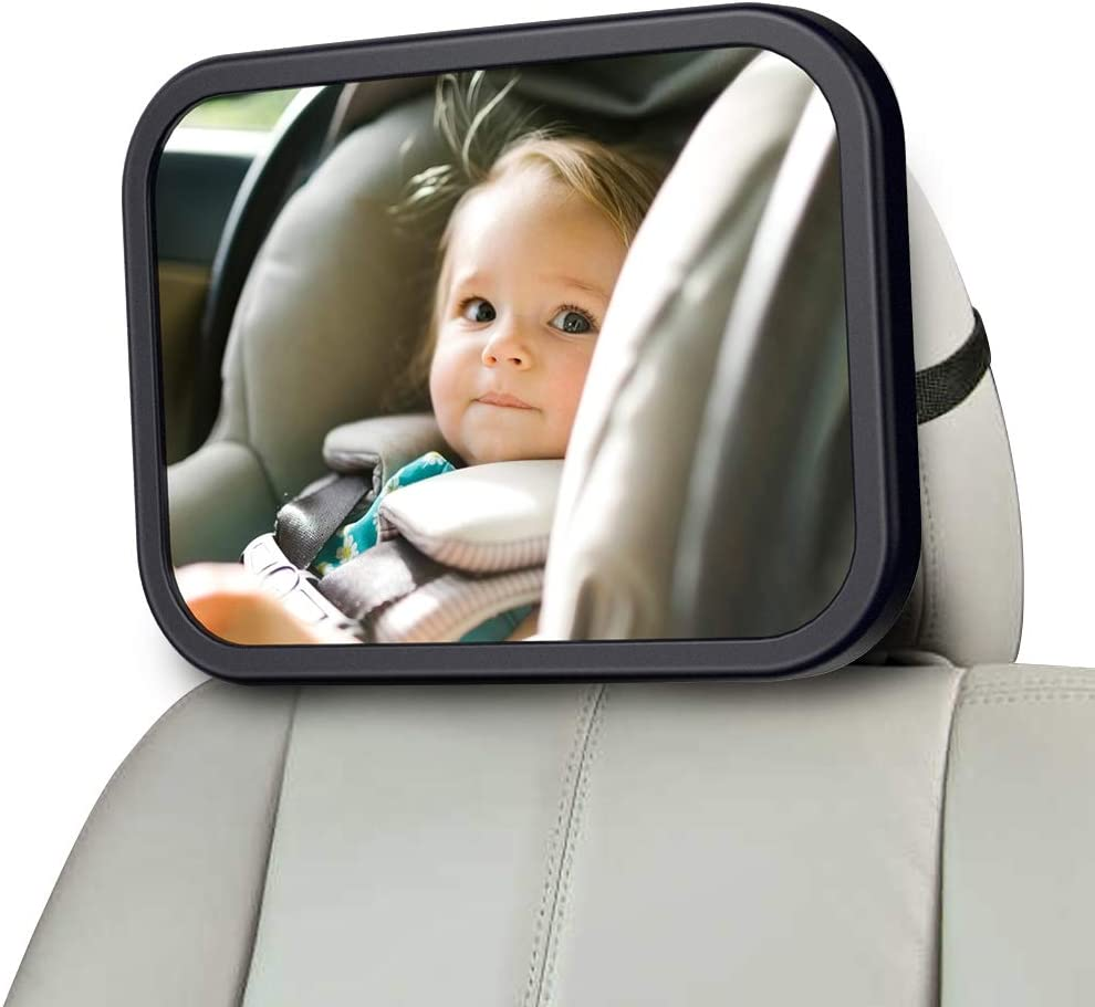 MONOJOY Baby Car Mirror for Back Seat, Baby Car Seat Mirror, Safety and Wide Baby Rear View Mirror to See Rear Facing Infants, Babies, Kids and Child
