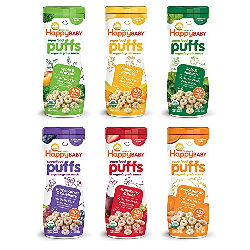 Happy Baby Organics Superfood Puffs, Variety Pack, 2.1 Ounce (Pack of 6)