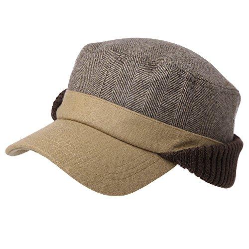 Fancet Winter Herren warme Schirmmütze mit Ohrenschutz Wolle Army Military Cap Khaki XL
