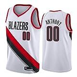 WAIY Carmelo Anthony Camiseta de Baloncesto, Portland Trail Blazers # 00 Ventilador de Bordado Juvenil para Hombres Camiseta de Baloncesto Secado rápido Antiarrugas Limpieza repetible-White-L