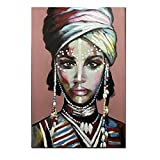 YWOHP Vestir Mujer Africana Cuadros Lienzo Pintura Carteles e Impresiones murales escandinavos decoración de la Sala Pintura 60x90cm