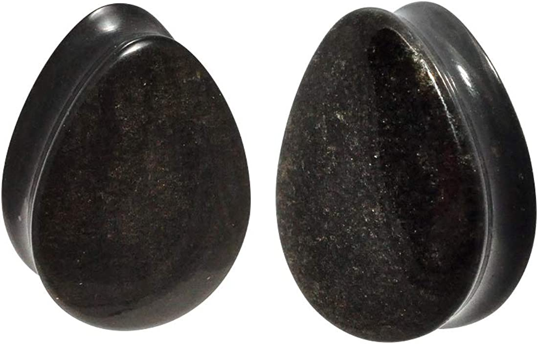 Mystic Metals Body Jewelry Pair of Golden Obsidian Convex Teardrop Double Flare Plugs (STN-647)