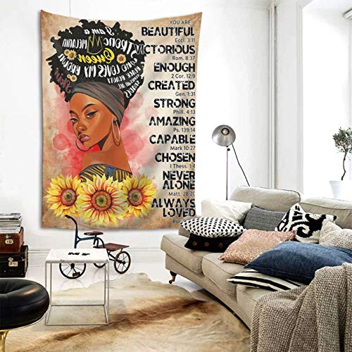 Black Art Wall Tapestry African American Tapestries Hippie Art Wall Black Queen Bible Inspirational Quote Decoration Wall Hanging Tablecloth Bedroom Living Room Dorm Room Best Gift, 60x80 Inch
