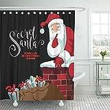 Not applicable Cortina de Ducha Secreto Rojo Fiesta de Santa Claus Dibujos Animados Claus trepando a la Chimenea para entregar su Saco de Regalos 10 Cortina de Ducha Blanca,72X72 in