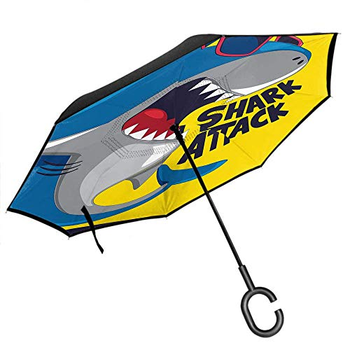 Dliuxf Shark UmbrellaWild Ocean Animal Fish mit Sonnenbrille Shark Attack Word Car Reverse Doppelschicht Inverted Windproof UV Umbrella -K317