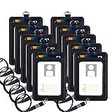 PU Leather ID Badge Card Holder, Vetoo - 10 Pack PU Leather Vertical ID Badge Card Holder with Detachable Lanyard/Strap