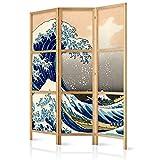 murando - Biombo Kanagawa 135x171 cm - 3 Paneles Lienzo de Tejido no Tejido Tela sintética Separador Madera Design de Moda Hecho a Mano Deco Home Office Japón p-B-0025-z-b