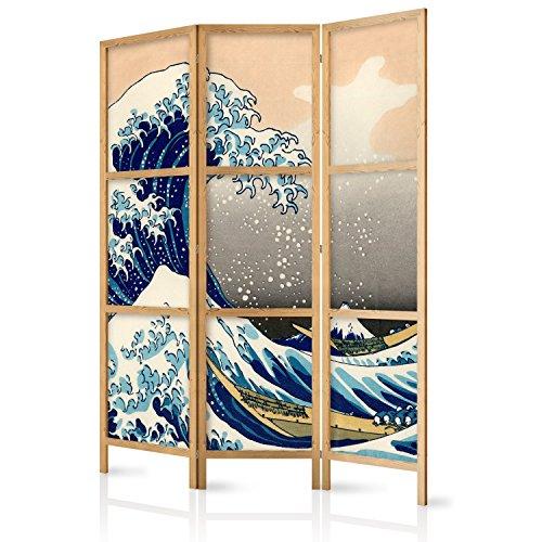 murando - Paravent die große Welle vor Kanagawa 135x171 cm 3-teilig einseitig eleganter Sichtschutz Raumteiler Trennwand Raumtrenner Holz Design Motiv Deko Home Office Japan p-B-0025-z-b