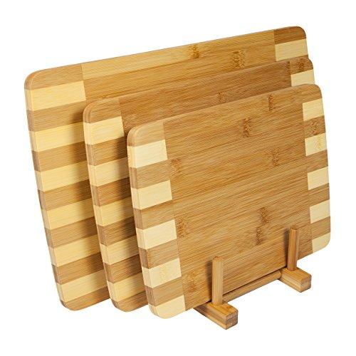 woodluv–Cesto Juego de 3, 100% bambú Decorativa de Madera Tablas de Cortar (Viene con su Propia de Almacenamiento Rack), Natural