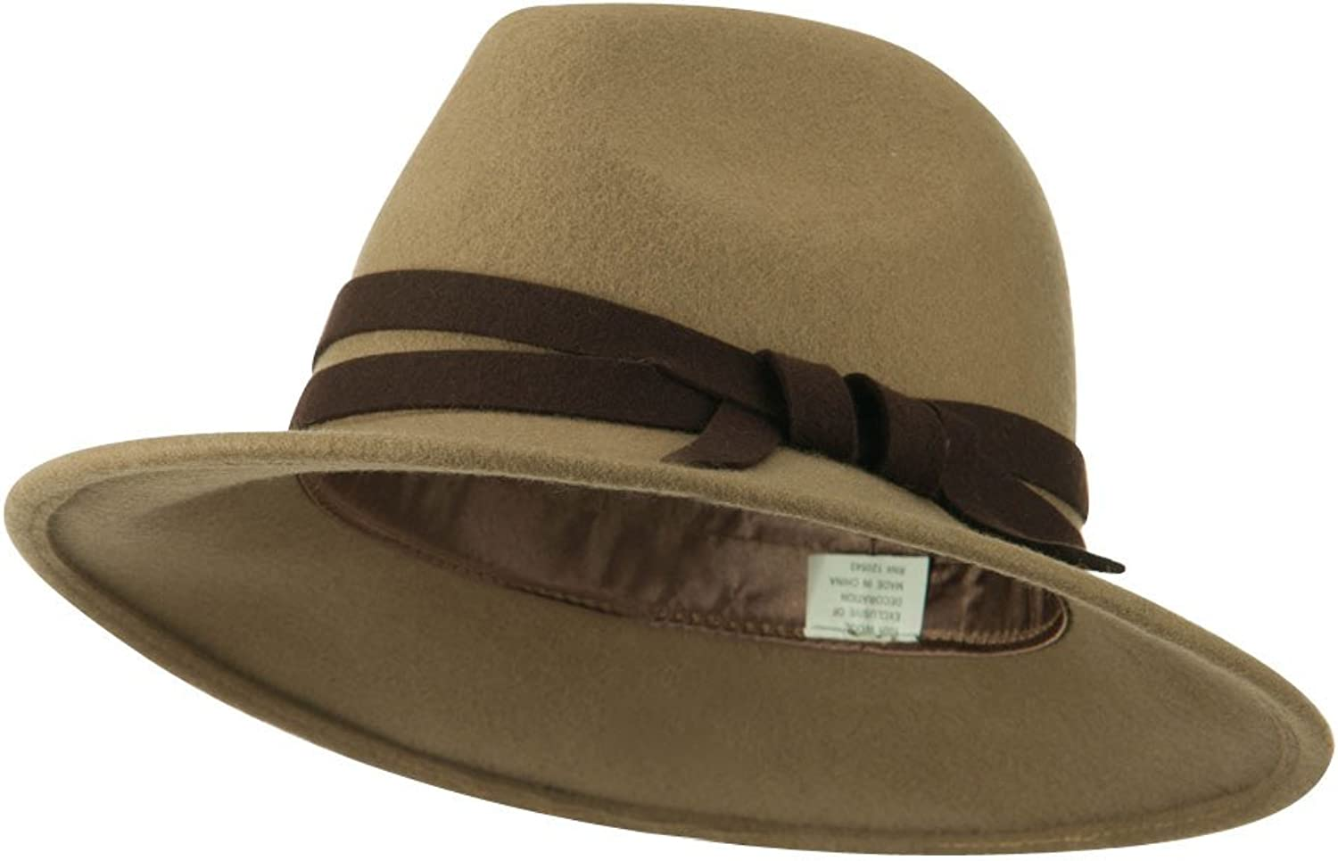 Jeanne Simmons Women's Double Tie Accent Outback Felt Hat  Brown