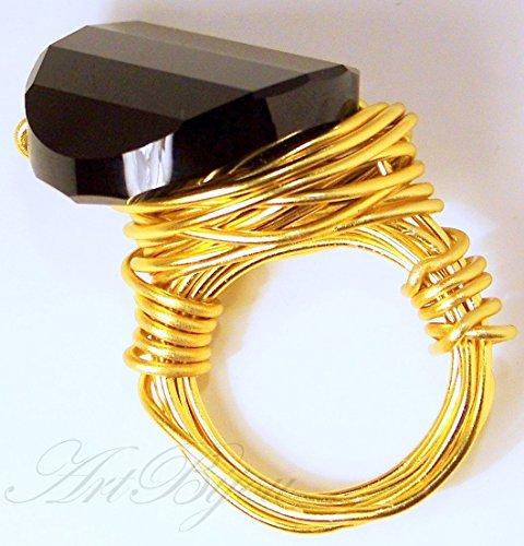 Anillo de Cristal de Swarovski Negro y Aluminio Dorado, Moderno y Elegante, Regalos para Ella, Regalo Mujer