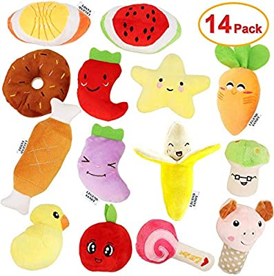 LEGEND SANDY 14 Pack Dog Squeaky Toys Cute Stuffed Plush Fruits Snacks and Vegetables Dog Toys for Puppy Small Medium Dog Pets
