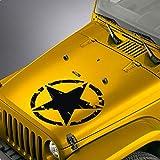 SkunkMonkey - Hood Decal fits Jeep Wrangler TJ LJ JK JKU - Distressed Army Star Oscar Mike Sticker - Silver Stickers