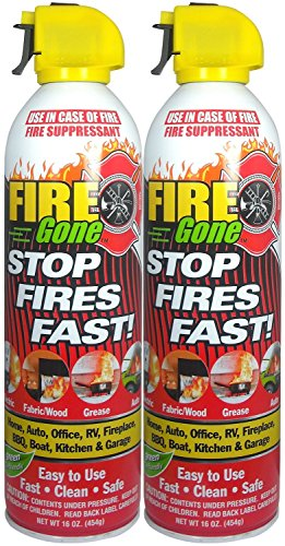 Fire Gone 2NBFG2704 White/Red Fire Suppressant Canisters - 16 oz, (Pack of 2 Units!)