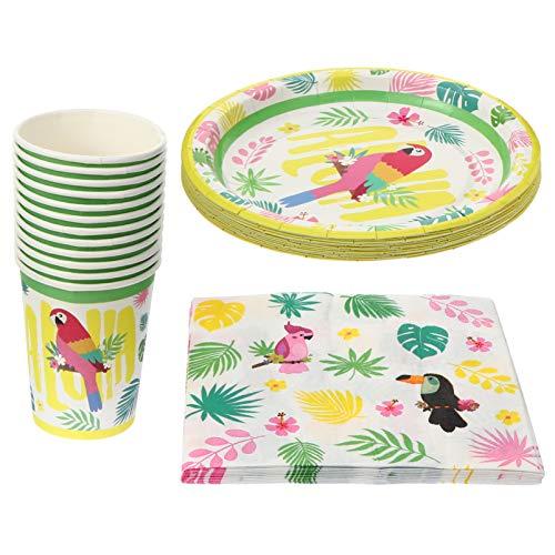 ifundom 36 Piezas Hawaii Party Supplies Vajilla Set Cute Tropical Papel Plates Tazas Servilletas para Cumpleaños Verano Jungla Playa Luau Fiesta Decoraciones