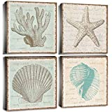 Rustic Beach Wall Art Bathroom Decor Coral Canvas Print Nautical Ocean Sea Shell Pictures Modern Vintage Sea Marine Theme Painting Retro Framed Artwork Kitchen Living Room Home Decorations 12' 4Pcs