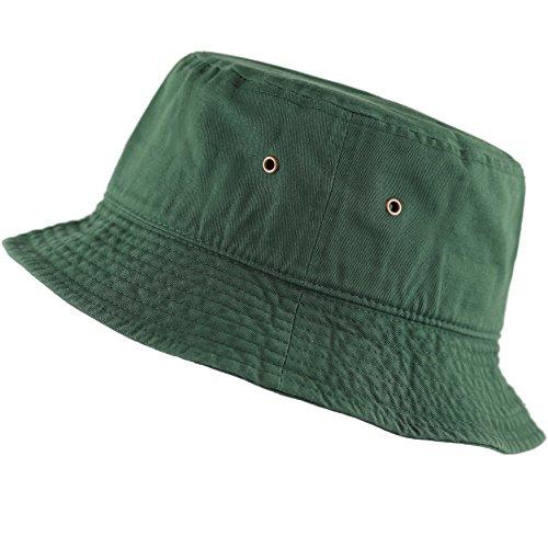 The Hat Depot 300N Unisex 100% Cotton Packable Summer Travel Bucket Hat (L/XL, Dark Green)